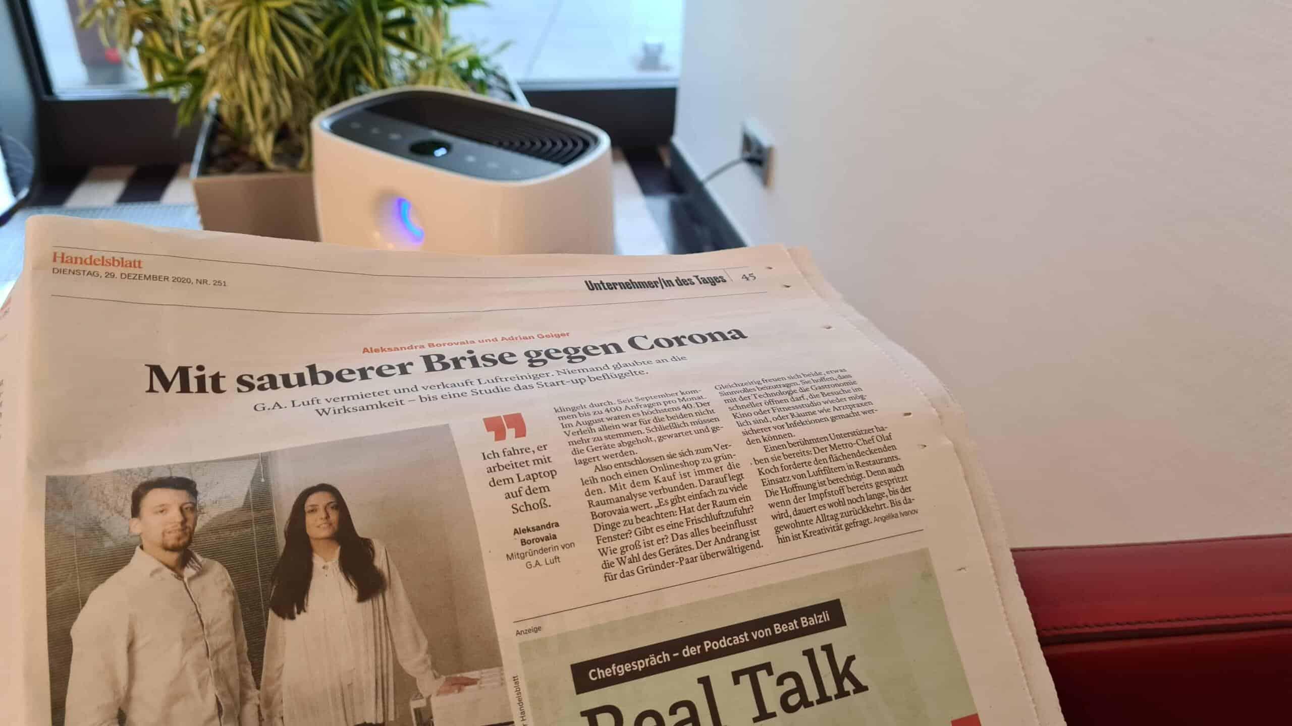 Handelsblatt Online - Luftreiniger - G.A.Luft Artikel - im Hintergrund Philips AC2889/10 - Testsieger Stiftung Warentest